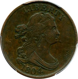Image of 1804 1/2c PCGS VF35 (Spiked Chin)