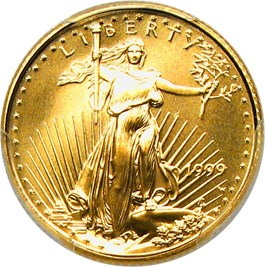 Image of 1999-W Gold Eagle $5 PCGS MS70 (Unfinished PR Dies)