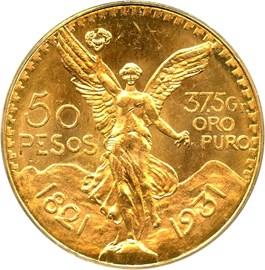 Image of Mexico: 1931 Gold 50 Peso PCGS MS64 (KM-481) - 1.2057 oz Gold