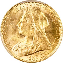 Image of Great Britain: 1900 1/2 Sov PCGS MS64 (0.1176 oz gold)