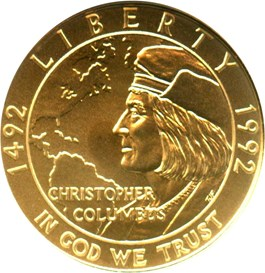Image of 1992-W Columbus $5 NGC MS70