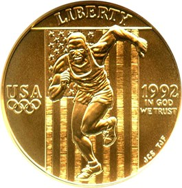 Image of 1992-W Olympic Sprinter $5 NGC MS70
