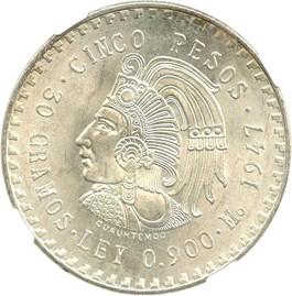 Image of Mexico: 1947-Mo Silver 5 Pesos NGC MS65 (KM-465)