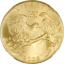 Image of 2008 Gold Eagle $5 NGC MS70