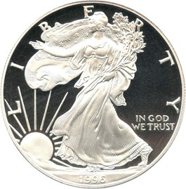 Image of 1996-P Silver Eagle $1 PCGS Proof 70 DCAM