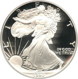 Image of 1990-S Silver Eagle $1 PCGS Proof 70 DCAM