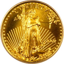 Image of 2001 Gold Eagle $5 PCGS Gem Uncirculated (9-11-01 WTC Recovery)