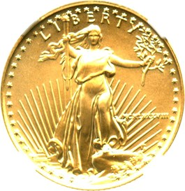Image of 1988 Gold Eagle $10 NGC MS69