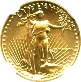 Image of 1988 Gold Eagle $5 NGC MS69