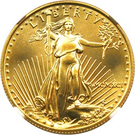 Image of 1991 Gold Eagle $25 NGC MS69