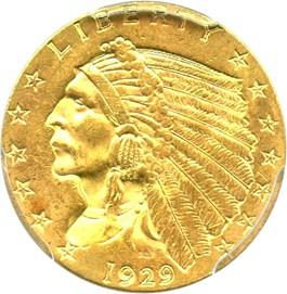 Image of 1929 $2 1/2 PCGS MS63