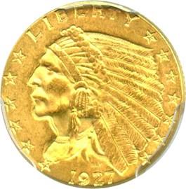 Image of 1927 $2 1/2 PCGS MS63