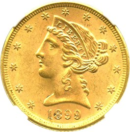 Image of 1899 $5 NGC MS64