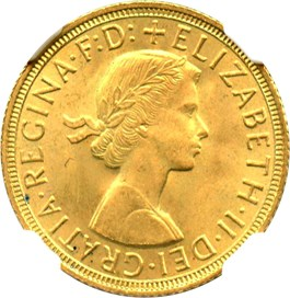 Image of Great Britain: 1958 Gold Sovereign NGC MS65 (KM-908)