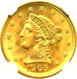 Image of 1905 $2 1/2 NGC MS67+