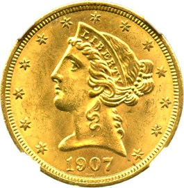 Image of 1907 $5 NGC/CAC MS64+
