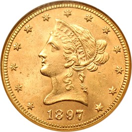 Image of 1897 $10 NGC MS64 - No Reserve!
