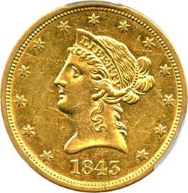 Image of 1843-O $10 PCGS AU50