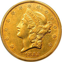 Image of 1855 $20 PCGS/CAC AU50