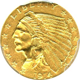Image of 1914 $2 1/2 PCGS MS61