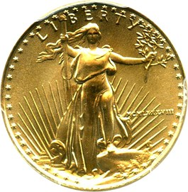Image of 1988 Gold Eagle $5 PCGS MS69