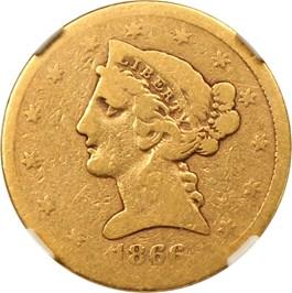 Image of 1866-S $5 NGC/CAC Good-04 (No Motto)
