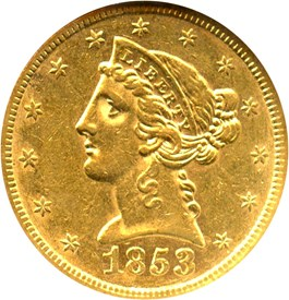 Image of 1853 $5 NGC AU55