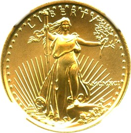 Image of 1991 Gold Eagle $10 NGC MS69