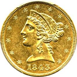 Image of 1843 $5 PCGS AU58