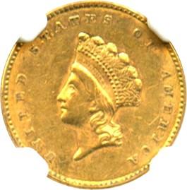 Image of 1854 G$1 NGC/CAC AU55 (Type 2)