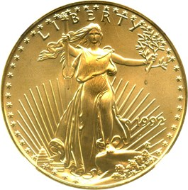 Image of 1992 Gold Eagle $25 NGC MS69
