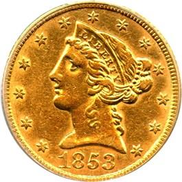 Image of 1853 $5 PCGS AU50