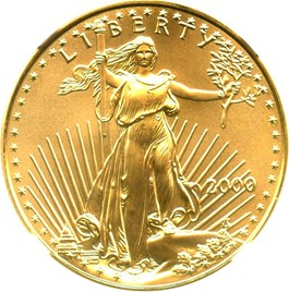 Image of 2000 Gold Eagle $25 NGC MS69