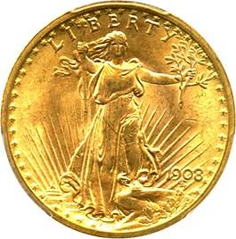 Image of 1908 $20 PCGS MS65+ (No Motto)