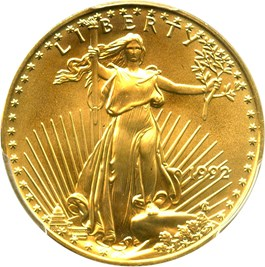 Image of 1992 Gold Eagle $25 PCGS MS69