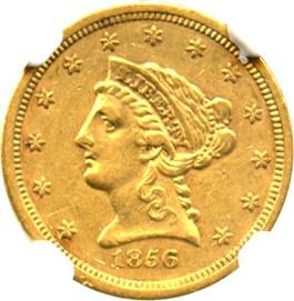 Image of 1856-S $2 1/2 NGC AU50