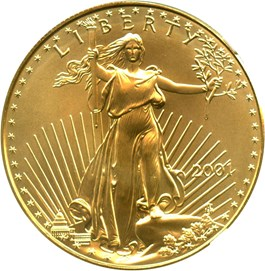 Image of 2001 Gold Eagle $50 NGC MS69