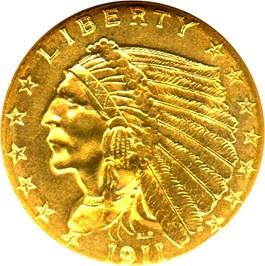 Image of 1911 $2 1/2 NGC MS63