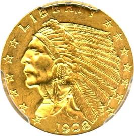 Image of Mint Error: 1908 $2 1/2 PCGS MS64 (Die Clash)