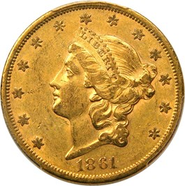 Image of 1861-S $20 PCGS/CAC AU53