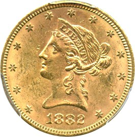 Image of 1882-S $10 PCGS MS62