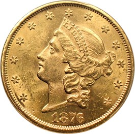 Image of 1876-S $20 PCGS/CAC MS62