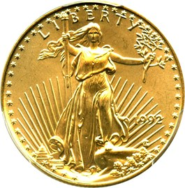Image of 1992 Gold Eagle $25 PCGS MS67