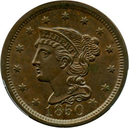 Image of 1850 1c PCGS MS65 BN