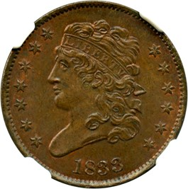 Image of 1833 1/2c NGC/CAC MS64 RB (C-1)