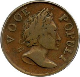 Image of 1760 Voce Populi Halfpenny PCGS VF25 BN (VOOE)