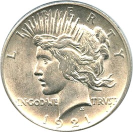 Image of 1921 Peace $1 PCGS AU58