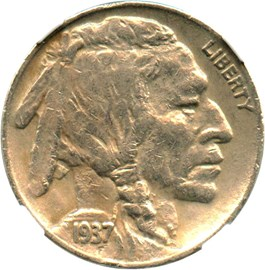 Image of 1937-D 3 Legged 5c NGC XF45