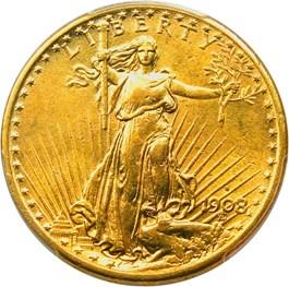 Image of 1908-S $20 PCGS/CAC AU58