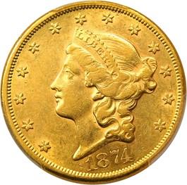 Image of 1874-CC $20 PCGS AU53